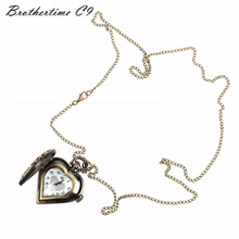 Relogio Masculino Retro Bronze Alloy Hollow Out Heart Pocket Necklace Watch Christmas Gift Relojes Mujer Montre Clock(China (Mainland))