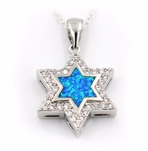 Nice Star Of David Blue Fire Opal Pendant Necklace(China (Mainland))