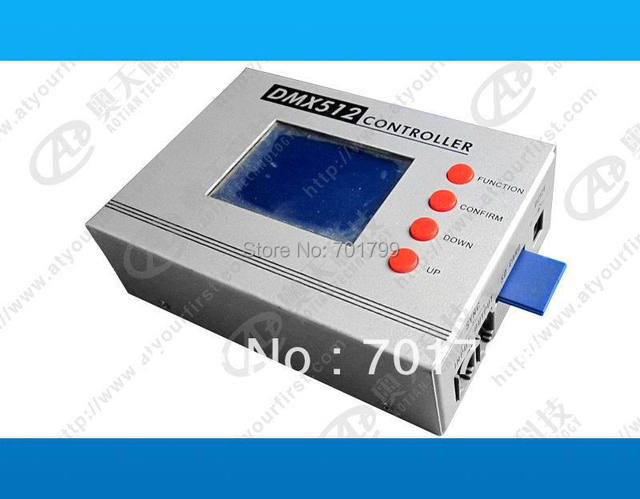 DMX main controller,with sd card and LCD display,With 12 standard DMX512 output channel,can control max 2040 pixels