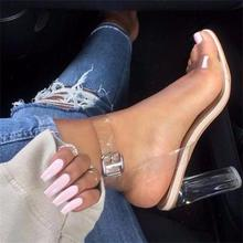 Women Sandals Ankle Strap Perspex High Heels PVC Clear Crystal Concise Classic Buckle Strap High Quality Fashion Shoes Woman(China (Mainland))