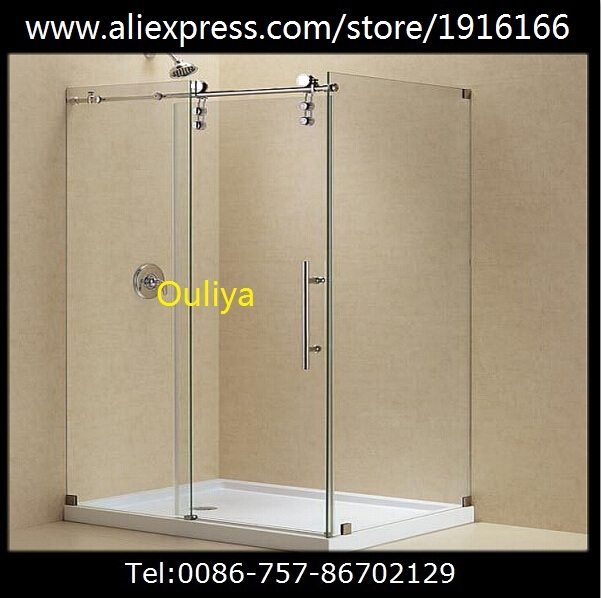 Free shipping Satin finished stainless steel frameless glass sliding door hardware(China (Mainland))