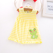 baby summer dress cute colorful 0-1-2 years old baby kids dress with long cotton goods(China)
