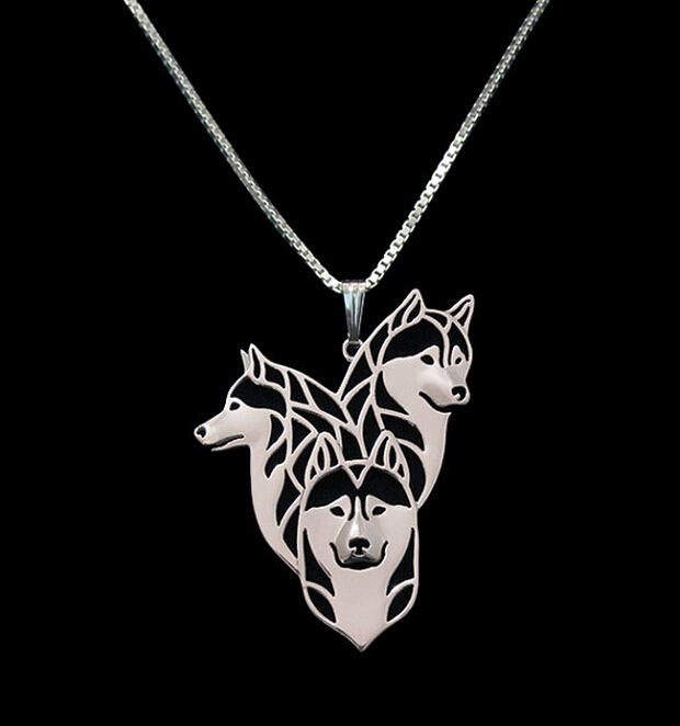 1PC Siberian-Husky-Family Necklace 3D Hollow Animal Lover Pendant Memorial Necklaces Christmas Gift For Women Men Friend(China (Mainland))