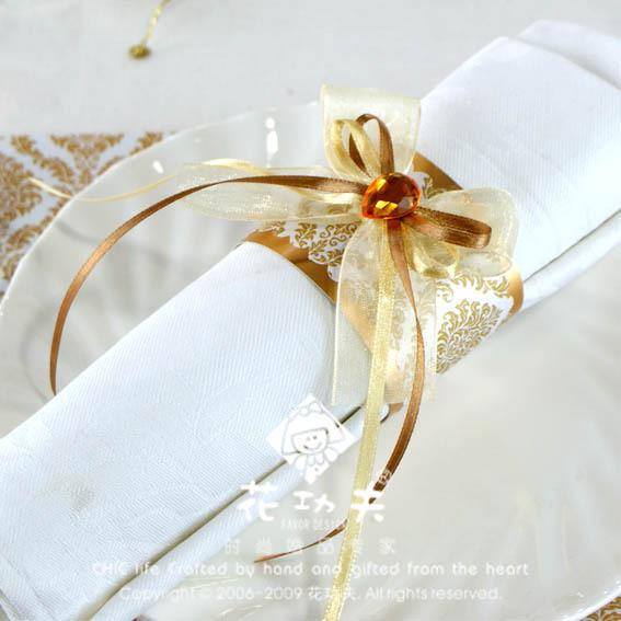 50pcs/lot Gold wedding dinner table napkin ring wedding decoration(China (Mainland))