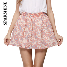 Buy Fashion Summer Women Dot Floral Print Mini Skirts 7 Color Elastic Waist Pleated Design Chiffon Short Skirt Girl's Popular Style for $5.70 in AliExpress store
