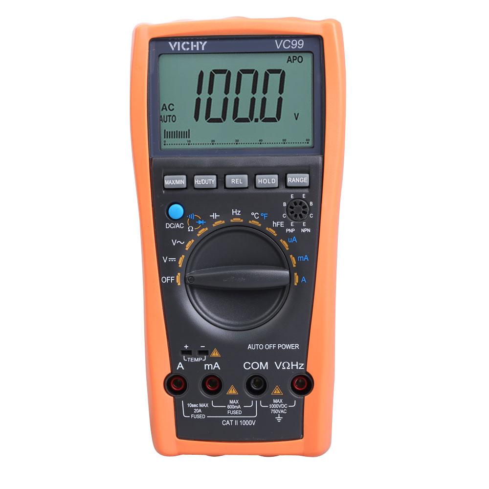 VC99 Auto Range Digital Multimeter Ammeter Voltmeter Temperature Tester Unit Symbol 61 Selection Analog Bar Display(China (Mainland))