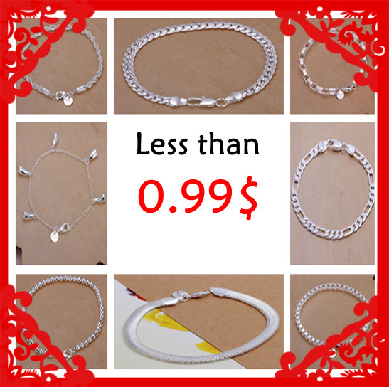 Losing money promotion Fashion 925 stamped silver plated fine bracelets 0.99$ 10 styles Factory Price Wholesale limited stock(China (Mainland))