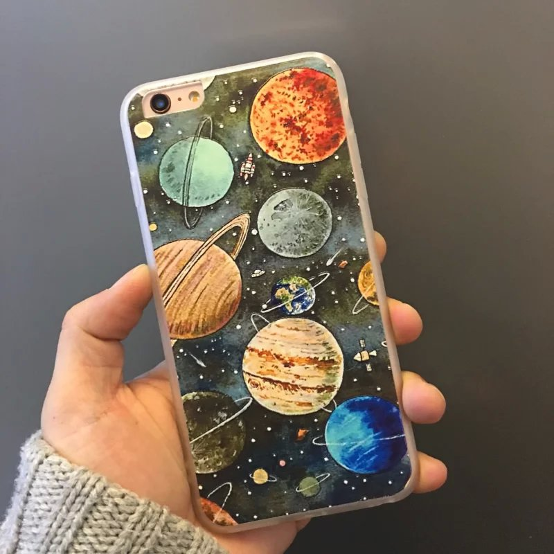 Space Odyssey Planets Cover Case For iPhone7 5 5s 6 6/7plus embossment Dull Polish Design Personalized Creativety Covers Fundas(China (Mainland))