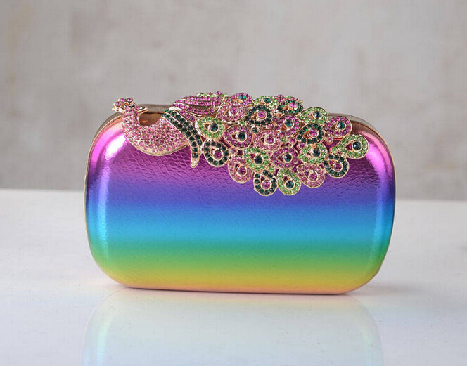 2015 Candy Colors Beautiful Peacock Evening Bag Rainbow Colors Alloy With Diamond Handbags Party Wedding Bags(China (Mainland))
