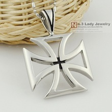 2013 New Mens Stainless Steel Hollow Cross Pendant Necklace Jewelry, ROCK, PUNK, BIKER, Wholesale, Free shipping WP472