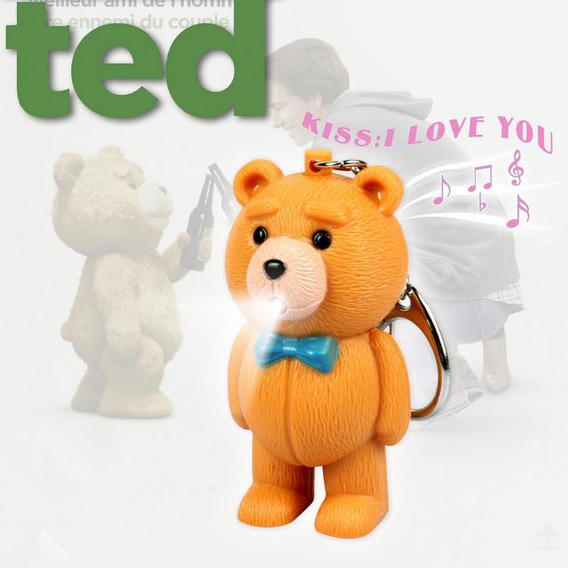 Backkom Медведь LED Брелок-Пух Плюшевый Мишка Брелок Фонарик Брелок Рождество Новый Год Подарок Звук Говорить Брелок
