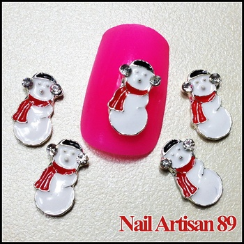 Alloy 3D Snow Man with Red Scarf best for Christmas Decoration Wholesale Nail Supply 20psc/lot B336