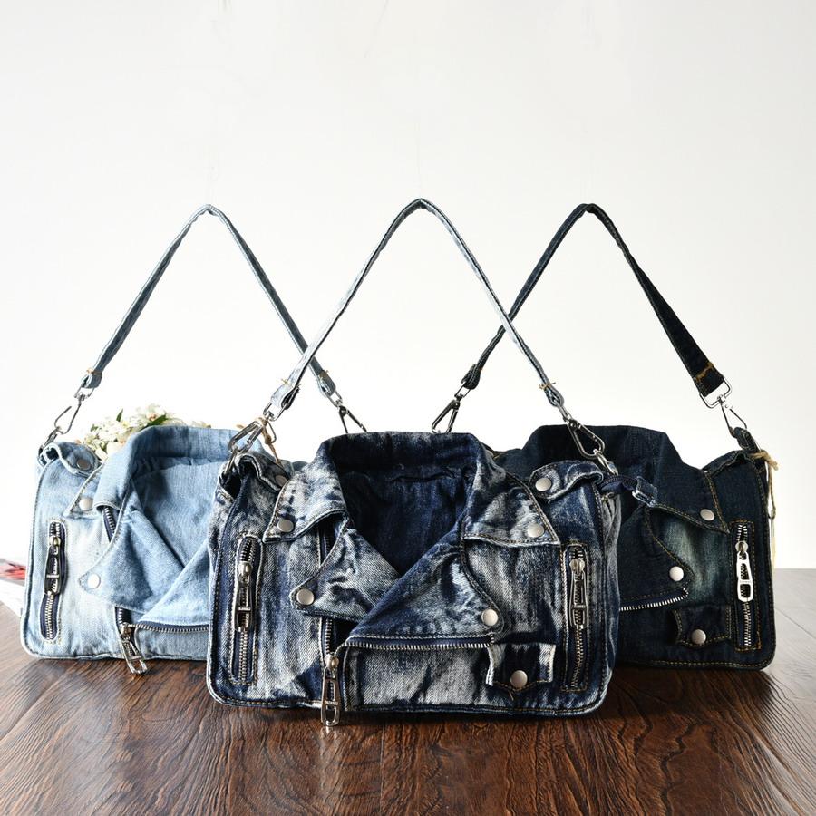Rivet Vintage 3D Design Fashion Denim Women Bag Jeans Shoulder Bags Girls Handbags Crossbody Bag Women Messenger Bags(China (Mainland))