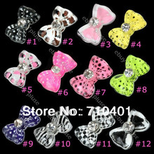 Free Shipping Wholesale/ Nails Supplier,100pcs 3D Plastic Glitter Mix Color Bowtie DIY Acrylic Nail Design/Nail Art, Unique Gift(China (Mainland))