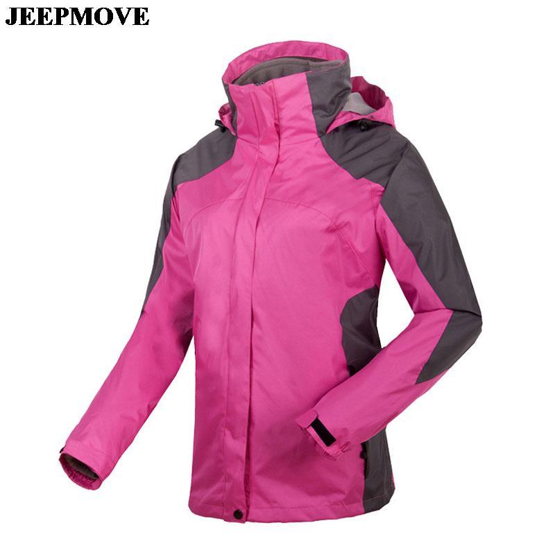 Womens Outdoor Climbing Jackets Detachable Fleece Liner Waterproof Windproof Warm Ski Women 6 Color S~2XL WS20G3