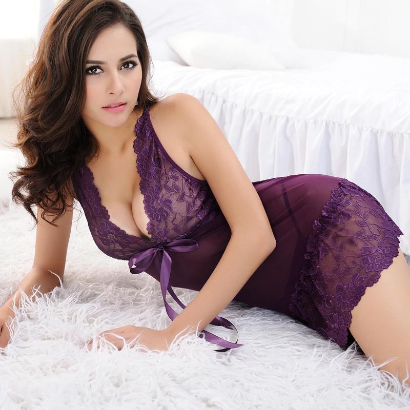 2015 Summer Sexy Women Sleep wears Lace Sleeveless Pajamas Nightgowns Black Purple Slim Dress Casual Nightwear