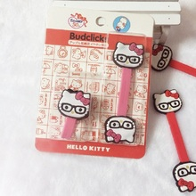 Red &pink cat cartoon Cord Holder Cable Organizer Winder Clip Headphone Earphone Wrap with retail package