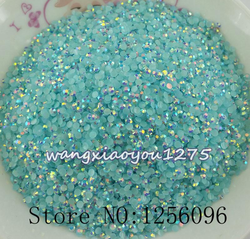 Free shipping 1000pcs 3D Nail Art Tips SS6 2mm Light blue jelly resin flat back crystal rhinestone Not Hotfix Use glue(China (Mainland))