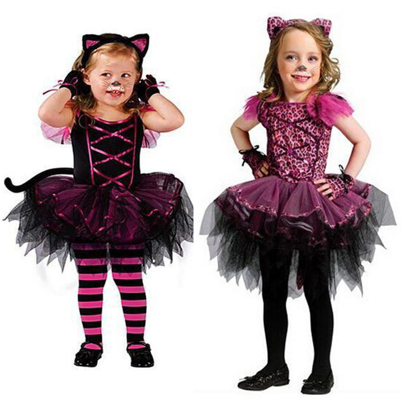 Children Dress Christmas Halloween Costumes Catwoman Costume Cosplay Dress Clothes With Headwear(China (Mainland))