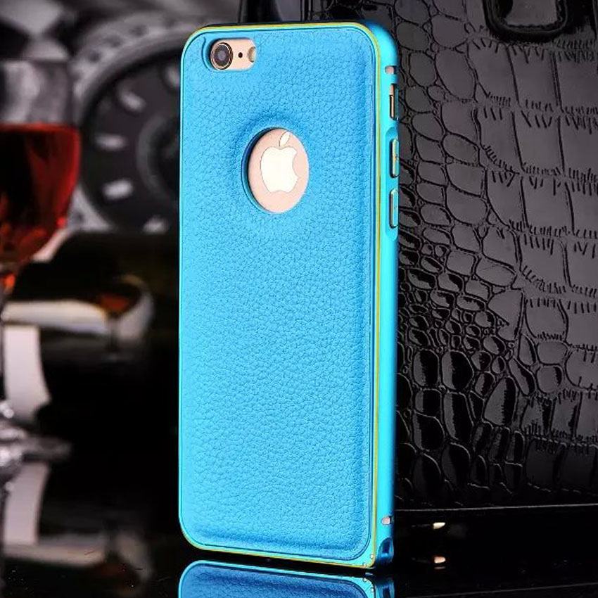 Luxury Matte Aluminum Bumper Frame+ Leather Back Case For Apple iPhone 6 6s 4.7″ Hard Metal Guard Impact Protect Cover Cases NEW
