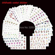 50sheets Mixed Designs Water Transfer Nail Art Sticker Watermark Decals DIY Decoration For Beauty Nail Tools Random Patterns(China (Mainland))