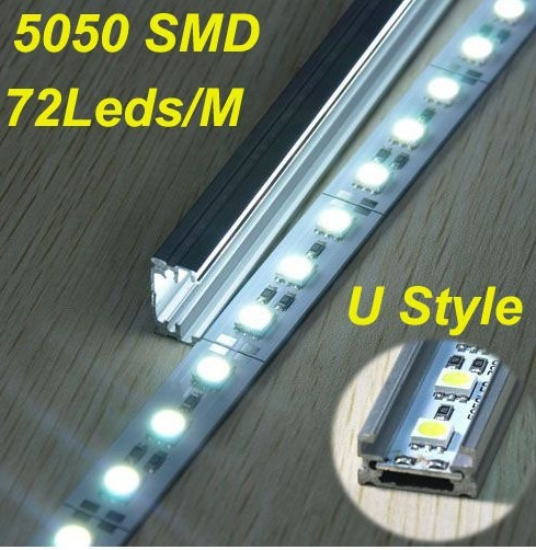 Free shipping Rigid Led Strip Light DC12V 100cm SMD5050 72SMD/pc NO Waterproof For Cabinet with aluminum housing-50pak(China (Mainland))