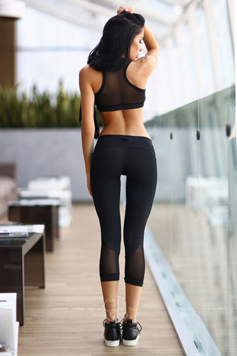 Sexy Women's Pants Sports Bra 2 Piece Set Fitness Women Workout Running Clothing Compression Leggings Female Crop Tops Suit