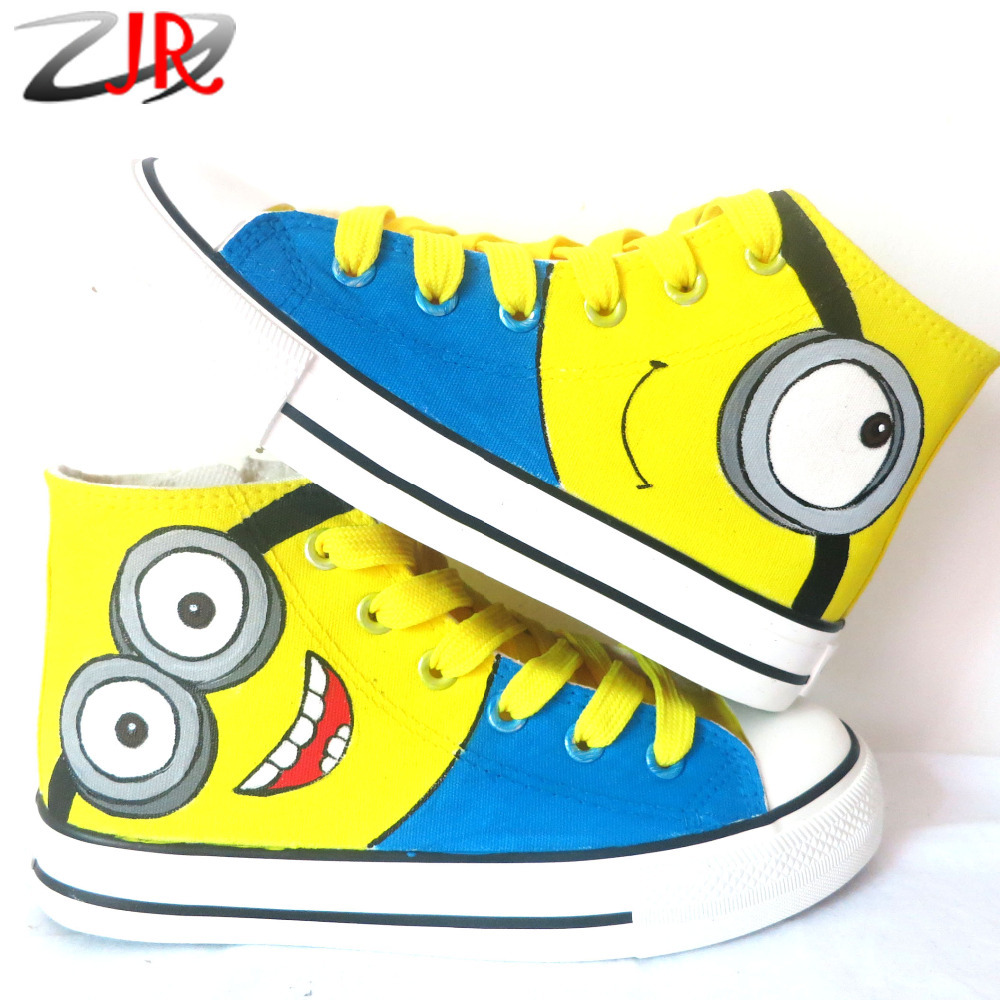 Smile Yellow Minions Kids High Top Fashion Sneakers Children Hand Painted Canvas Flat Shoes<br><br>Aliexpress