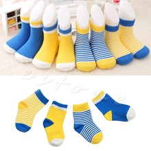 Set of 4 Pairs Baby Toddler Kids Cotton Socks Stripe Polka Dot Socks 0-3 Years(China (Mainland))
