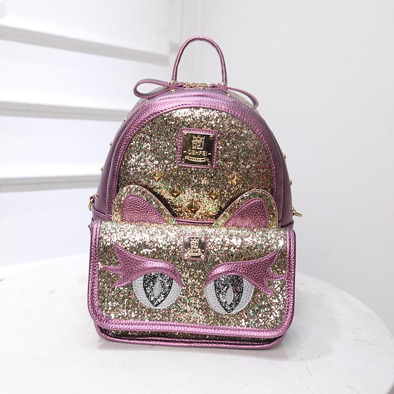 Cartoon cute Animal modelling backpack Fashion school bag for teenage girl Fresh sequins cat Leisure travel bag women bag(China (Mainland))