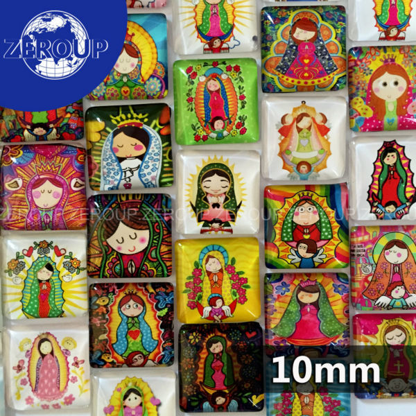10mm square glass cabochon cartoon girl pictures mixed pattern fit base setting for jewelry embellishment flatback 50pcs/lot(China (Mainland))