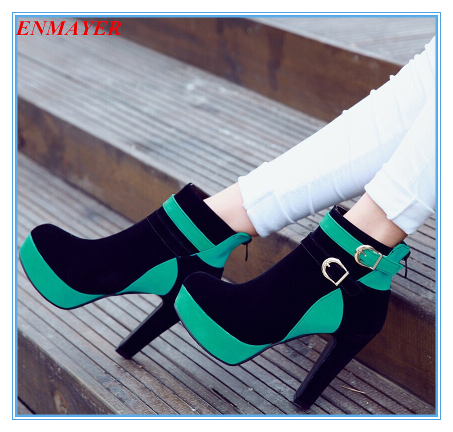 ENMAYER Banquet Round Toe High Mixed Colors boots for women autumn boots Fashion shoes women wedding Martin boots SIZE34-43<br><br>Aliexpress