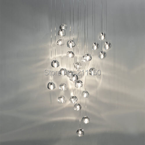 26 LIGHTS MODERN CLEAR CRYSTAL GLASS SPHERE / BALL MIZU 26 PENDANT  CHANDELIER WITH BRUSHED NICKEL