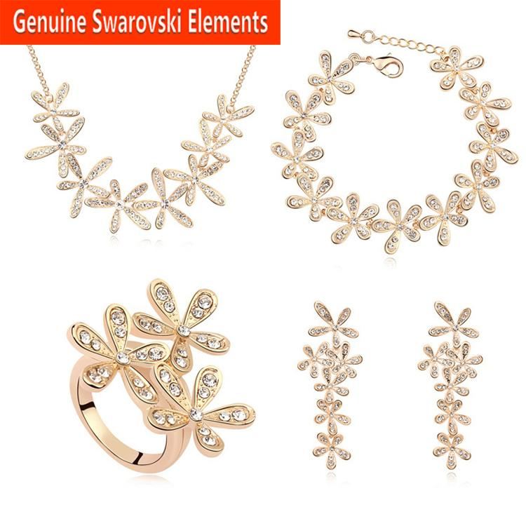 2015 Valentine Day gift Made with Swarovski Elements 18K gold Plated Jewelry sets for women New Sale Hot #SE11182(China (Mainland))