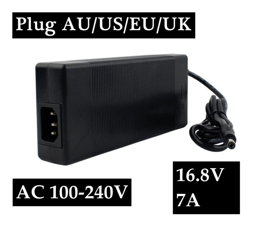 16.8V 7A polymer lithium battery charger 100-240V 5.5MM*2.1MM Portable Charger EU/AU/US/UK Plug Electric Bike