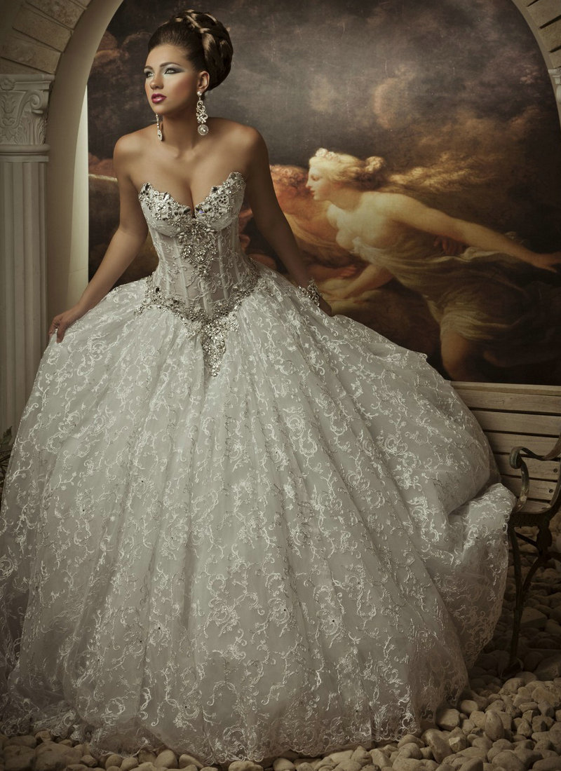 2015 Sexy Corset Beading Sweetheart Weddingl Gown Without Train vestidos de noiva Ivory Ball Gown Wedding Dress Lace(China (Mainland))