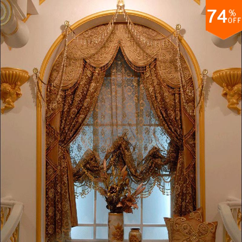 Arab Mine Brown Trend Golden Embroidery Egypt Gold Curtains Dinning Room Kitchen Rooms Elegant
