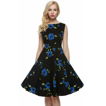 ACEVOG Brand S - 4XL Women Dress Retro Vintage 1950s 60s Rockabilly Floral Swing Summer Dresses Elegant Bow-knot Tunic Vestidos(China (Mainland))