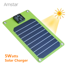Amstar 5W Solar Charger Portable Solar Power Bank Sunpower High Efficiency Panel Solar for iPhone 6S Plus Samsung S7 Edge
