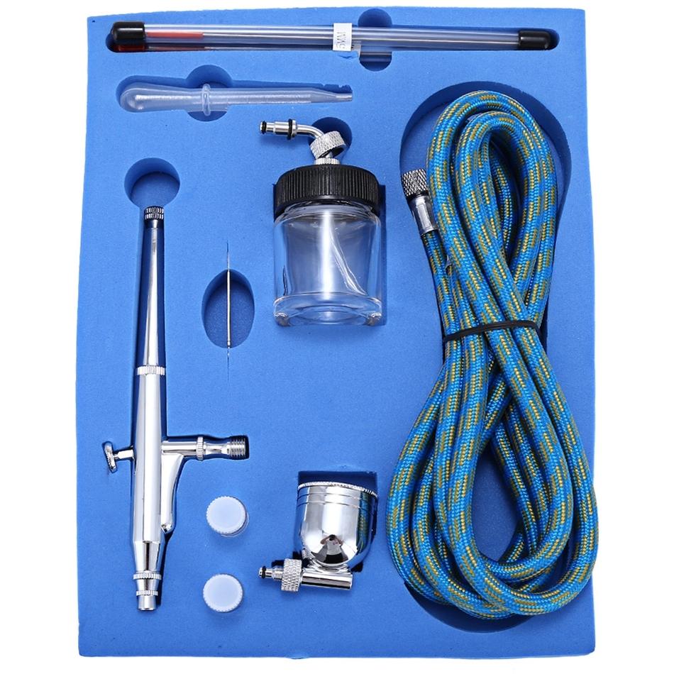 Portable 0.2mm / 0.3mm / 0.5mm Needles & Nozzles Dual Action Airbrush Air Compressor Kit Craft Cake Paint Art Spray Gun Set(China (Mainland))