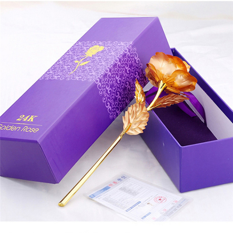 25CM Valentine's Day 24k Gold Foil Rose Flower Handcrafted Handmade Dipped Long Stem Lovers Wedding Gift Purple Box(China (Mainland))