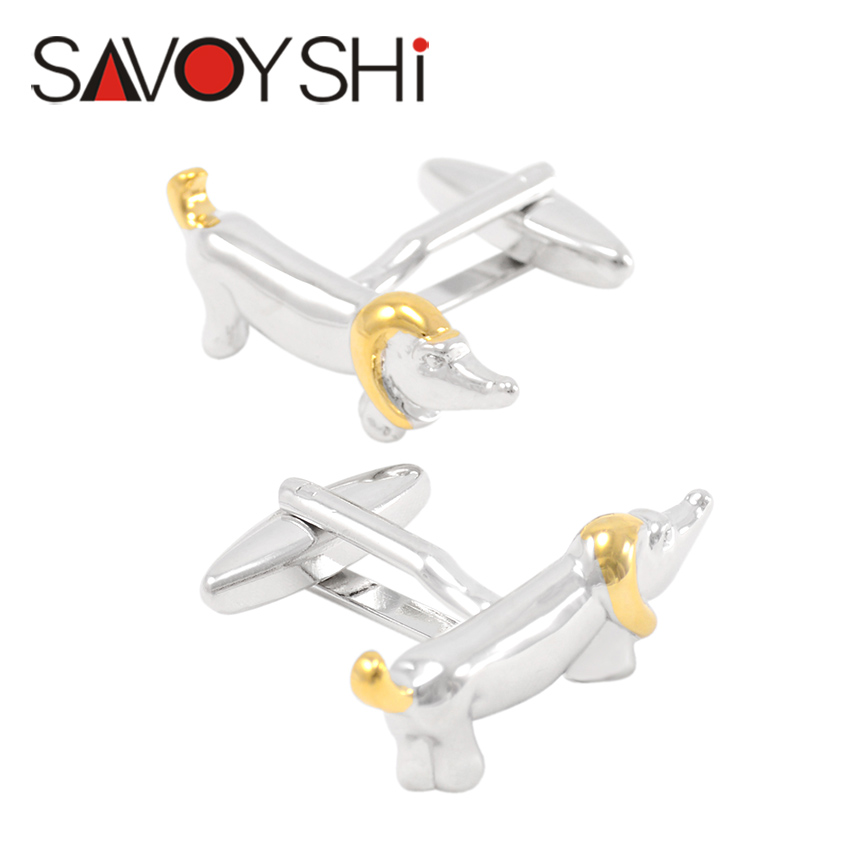 Dog Cufflinks for Mens Shirt Cuff Buttons High Quality Novelty Silver&Gold Animal Cuff links Gift SAVOYSHI Brand Jewelry Design(China (Mainland))