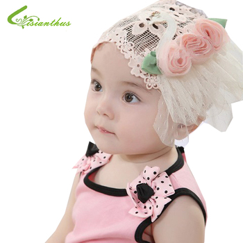 2017 new three flowers headband Newborn Baby Toddler Girls Headband baby Lace Elastic Hair Accessories Hat Beanie Free Shipping