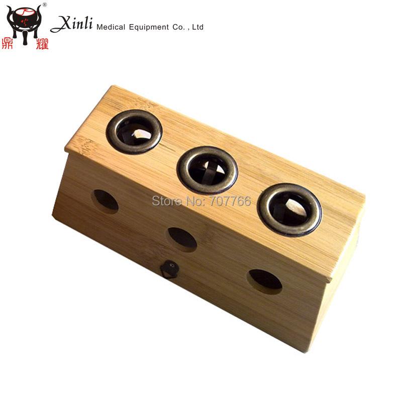 2015 High Quality Three Hole Bamboo Moxa Box device(China (Mainland))
