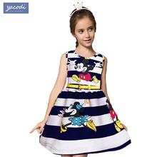 Hot Striped cartoon mickey Minnie girls dresses summer 2015 kids sleeveless Casual cute girls clothes vestidos children clothing