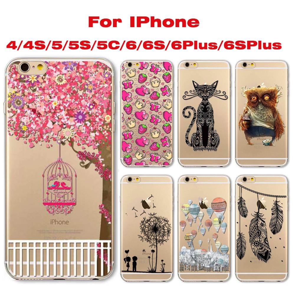 For iphone 4 4s 5 5s 5c 6 6s 6plus 6splus Phone Case Flexible Super Slim