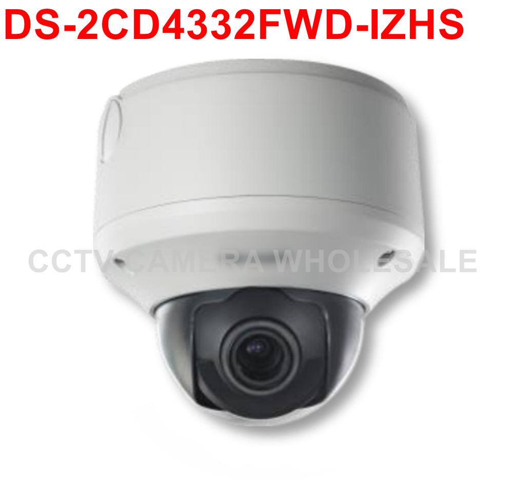 Free shipping DS-2CD4332FWD-IZHS 3MP WDR Outdoor Dome IP security Camera with Motorized VF lens,heater support SD card recording<br>