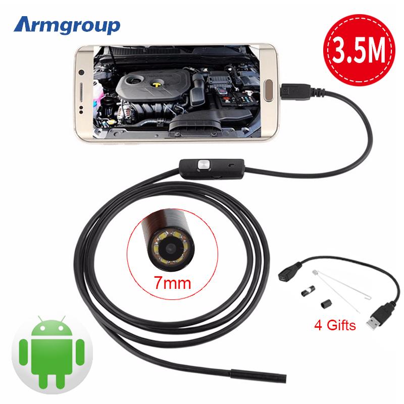 7mm 3.5M IP67 6 LED Phone Endoscope Mini USB Endoscope Android Phone Borescope Endoscopio Cable Inspection Tube Snake Camera(China (Mainland))