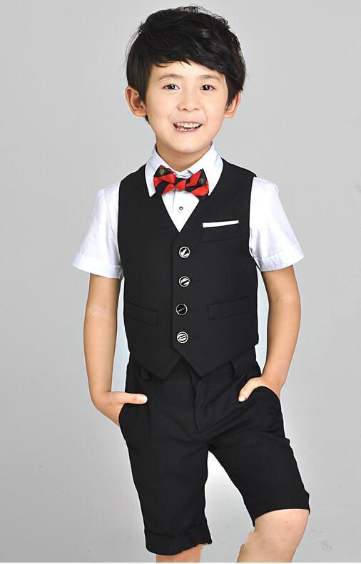 2015 TWO Pieces Luxurious Black Ring Bearer Tuxedo Children dress formal dress boys suits fashion kids suit vest+pants(China (Mainland))