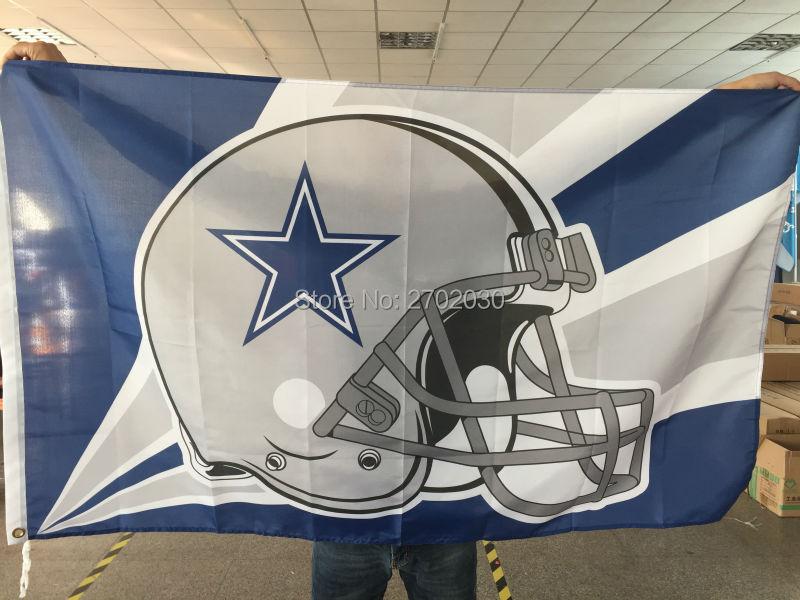Dallas Cowboys Helmet Flag blue star Helmet Premium Team Polyester 3ft X 5ft Football Banner Jersey Dallas Cowboys Flag(China (Mainland))
